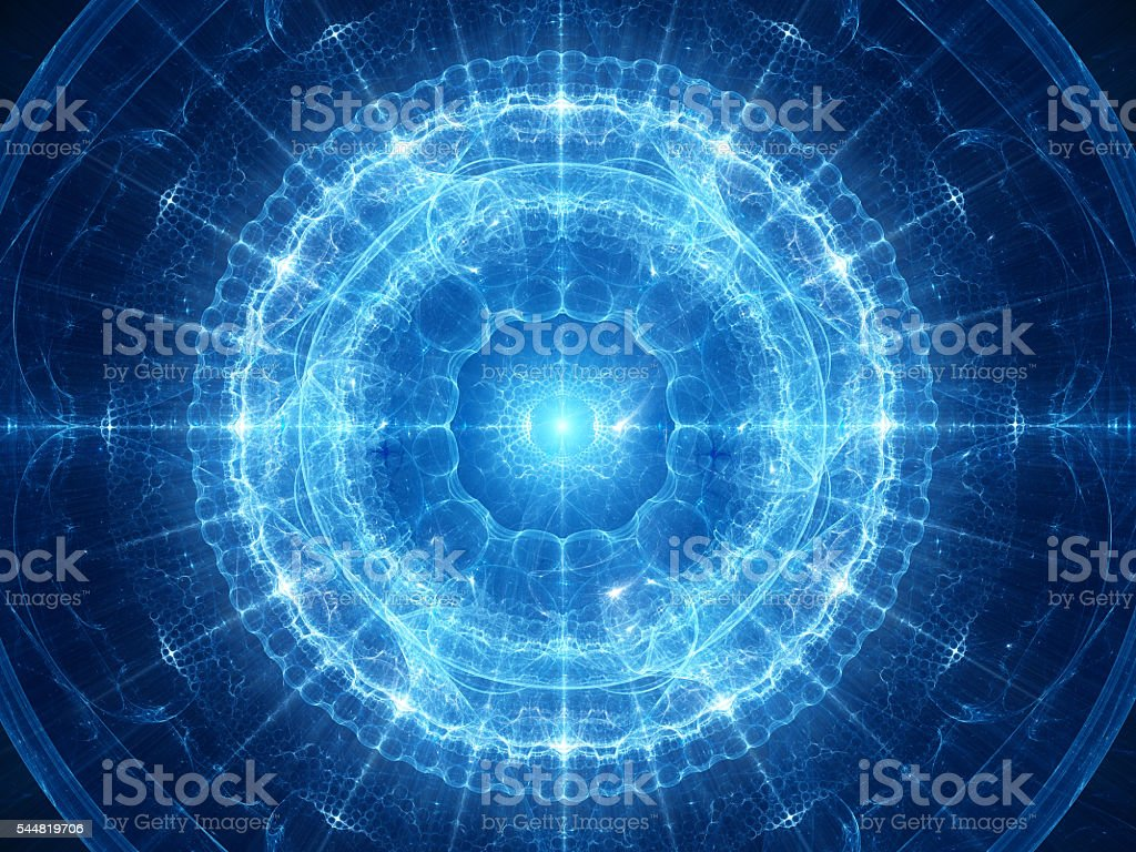 Blue glowing magical genesis in space stock photo