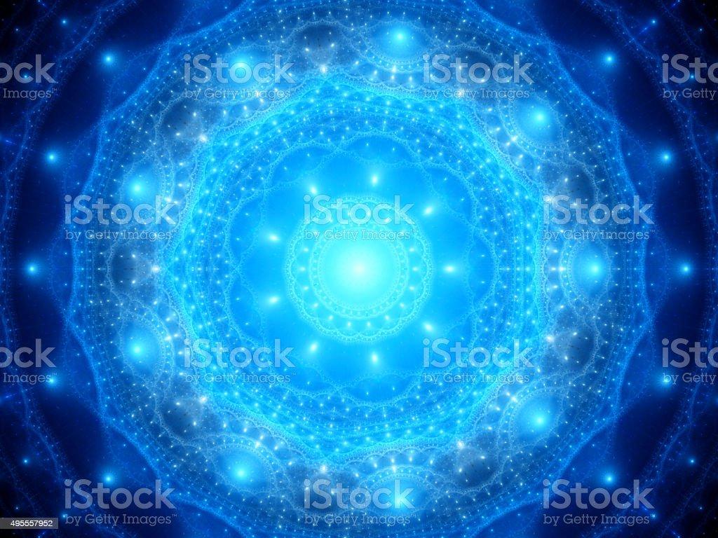 Blue glowing mandala in space stock photo