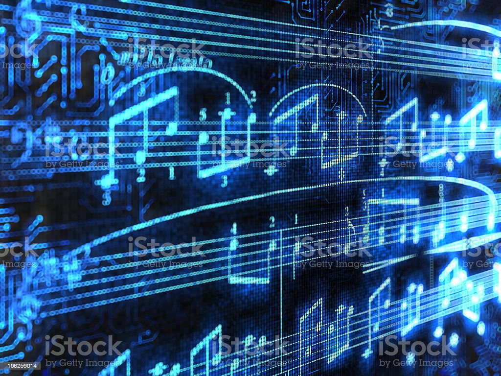 Blue glowing music notes isolated on black background stock photo
