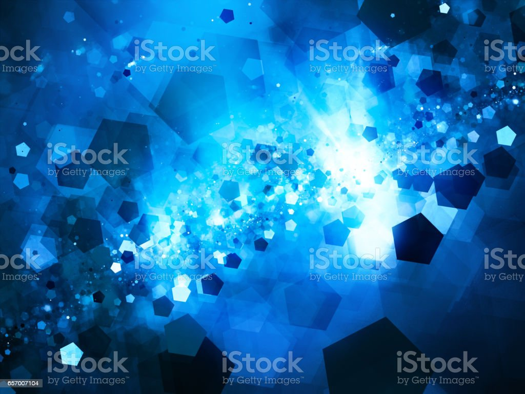 Blue glowing nebula in space with pentagon particles stock photo