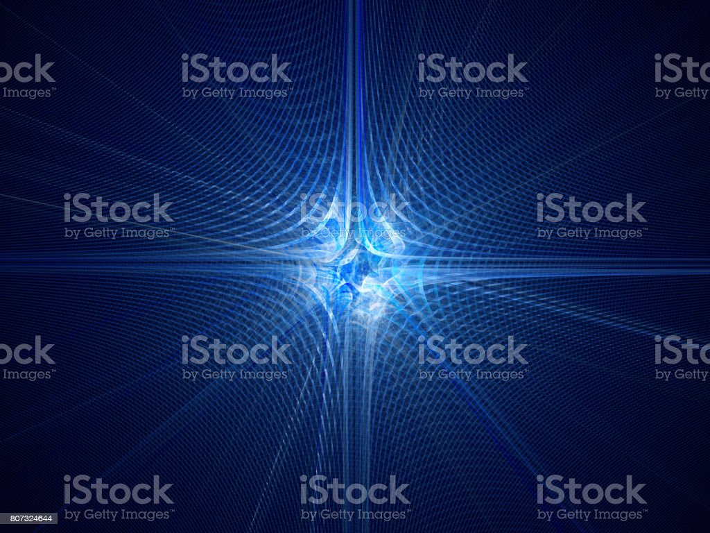 Blue glowing quantum particle with wave attribution stock photo