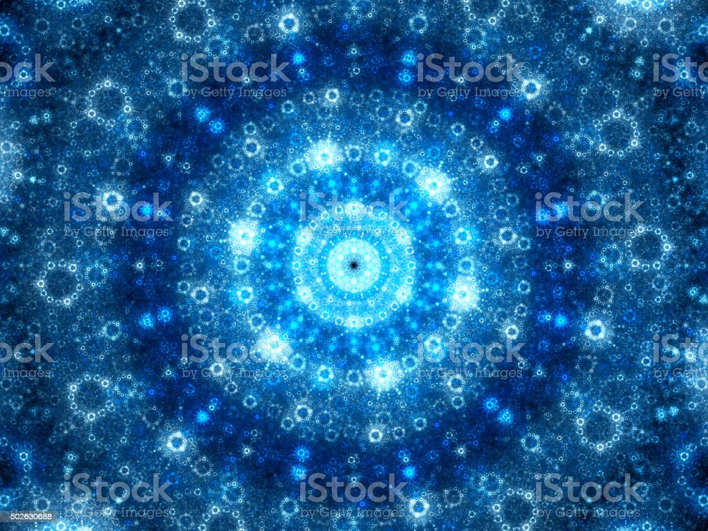 Blue glowing spherical fractal artwork stock photo