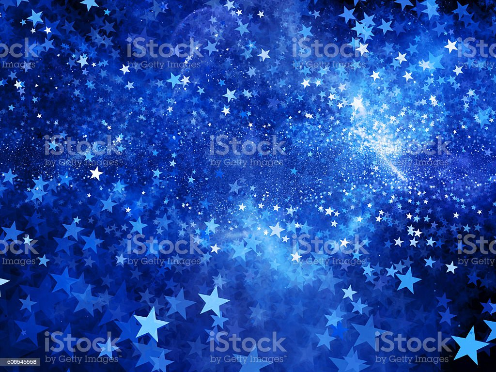 Blue glowing star shape fractal abstract background stock photo