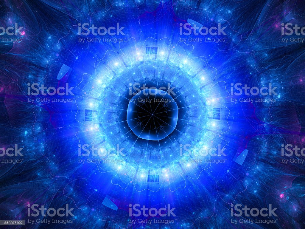 Blue glowing stargate in space stock photo