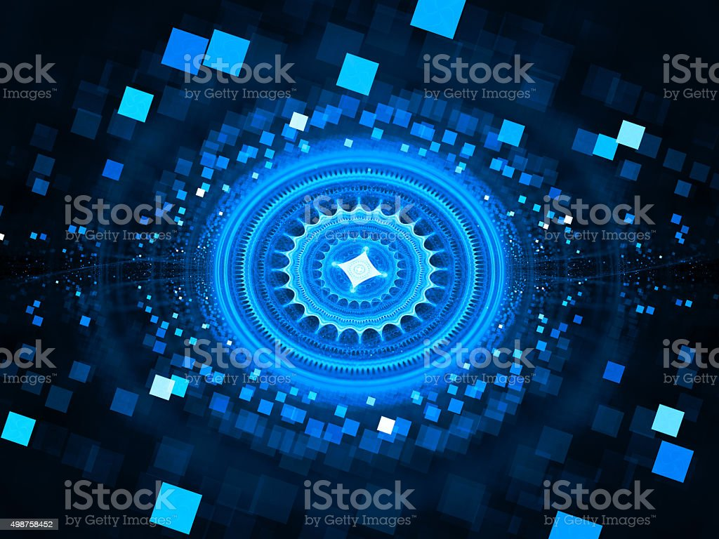 Blue glowing stargate with particles in space stock photo