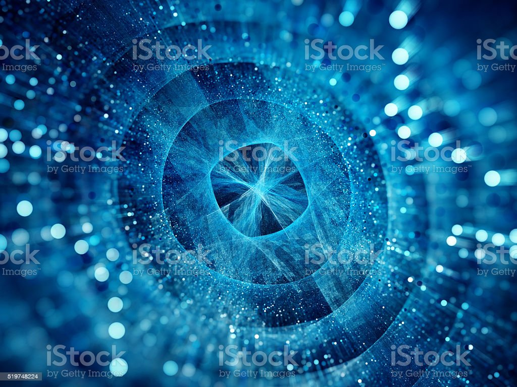 Blue glowing stargate with particles stock photo