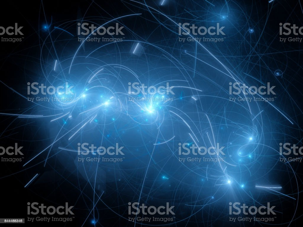 Blue glowing stars with trajectory curves in space stock photo