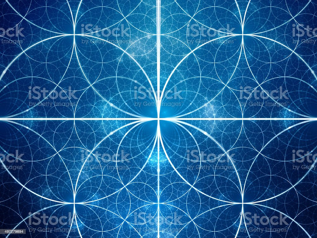 Blue glowing symmetrical fractal circles stock photo