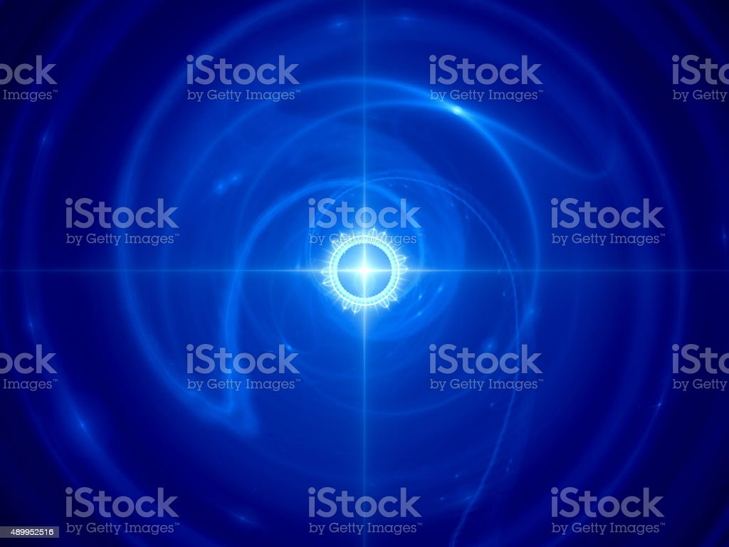 Blue glowing time machine in space stock photo