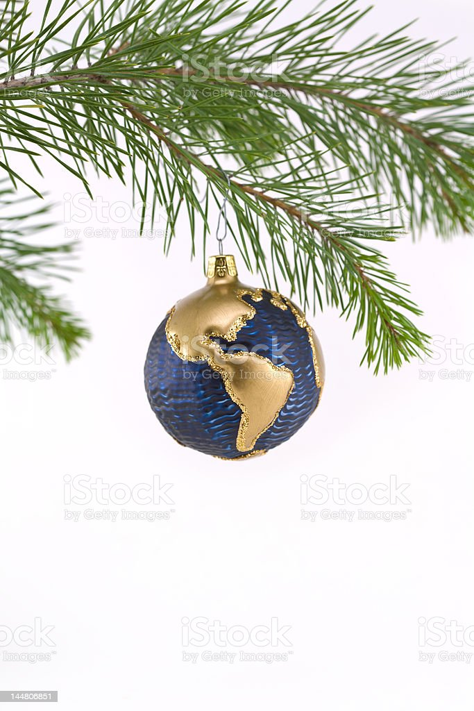 Blue, Gold Globe Christmas Ornament showing North and South America royalty-free stock photo