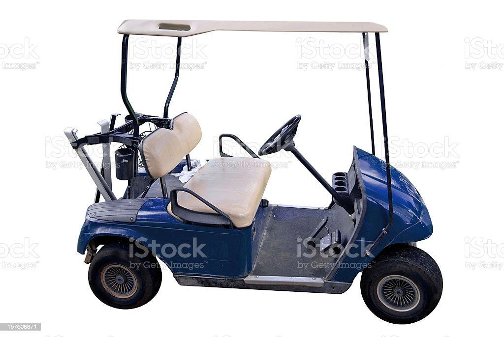Blue Golf Cart on White royalty-free stock photo