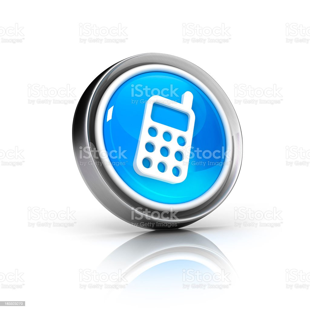 Blue graphic icon of a telephone representing communication stock photo