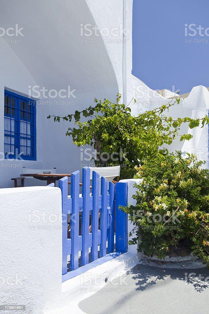 Blue Greek door on Santorini stock photo
