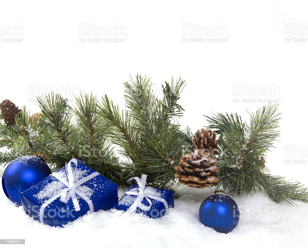 Blue, Green and White Christmas royalty-free stock photo