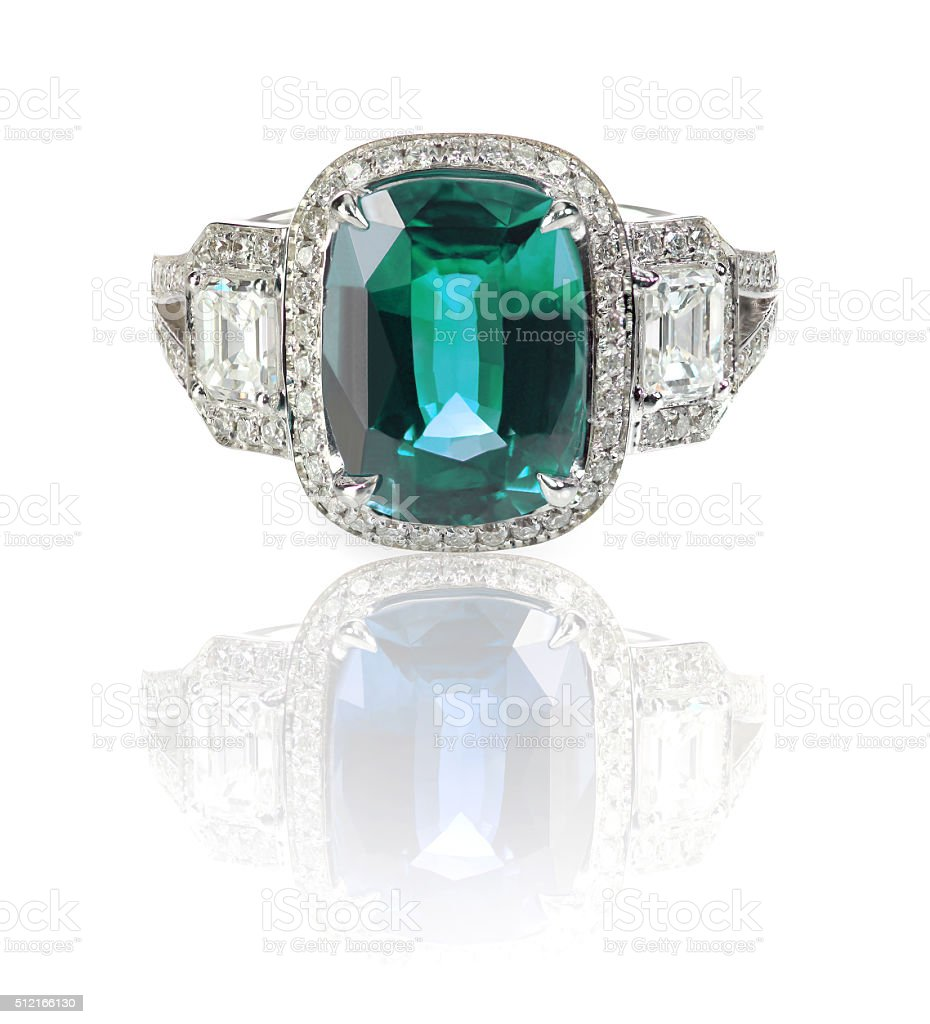 Blue Green Emerald Aquamarine precious gemstone and diamond ring stock photo