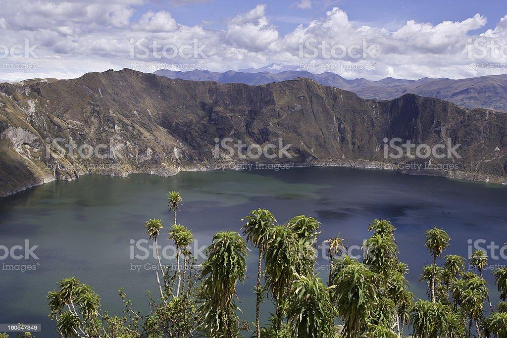 Blue green lake in Quilotoa Volcano stock photo