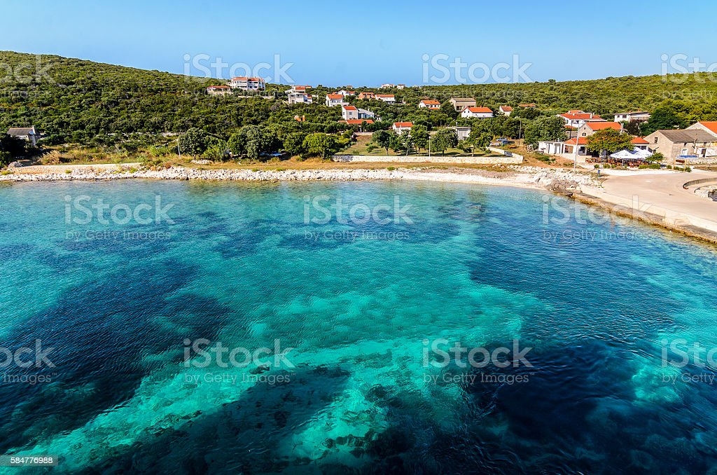 Blue green paradise lagoon in Croatia stock photo