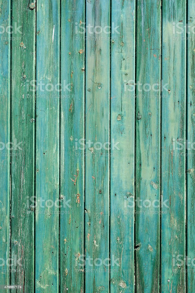 blue green planks on wooden wall of shed stock photo