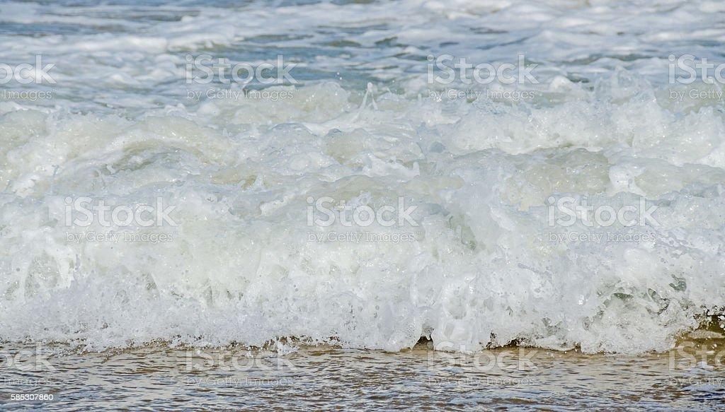 Blue, green water waves, Black Sea sandy shore stock photo