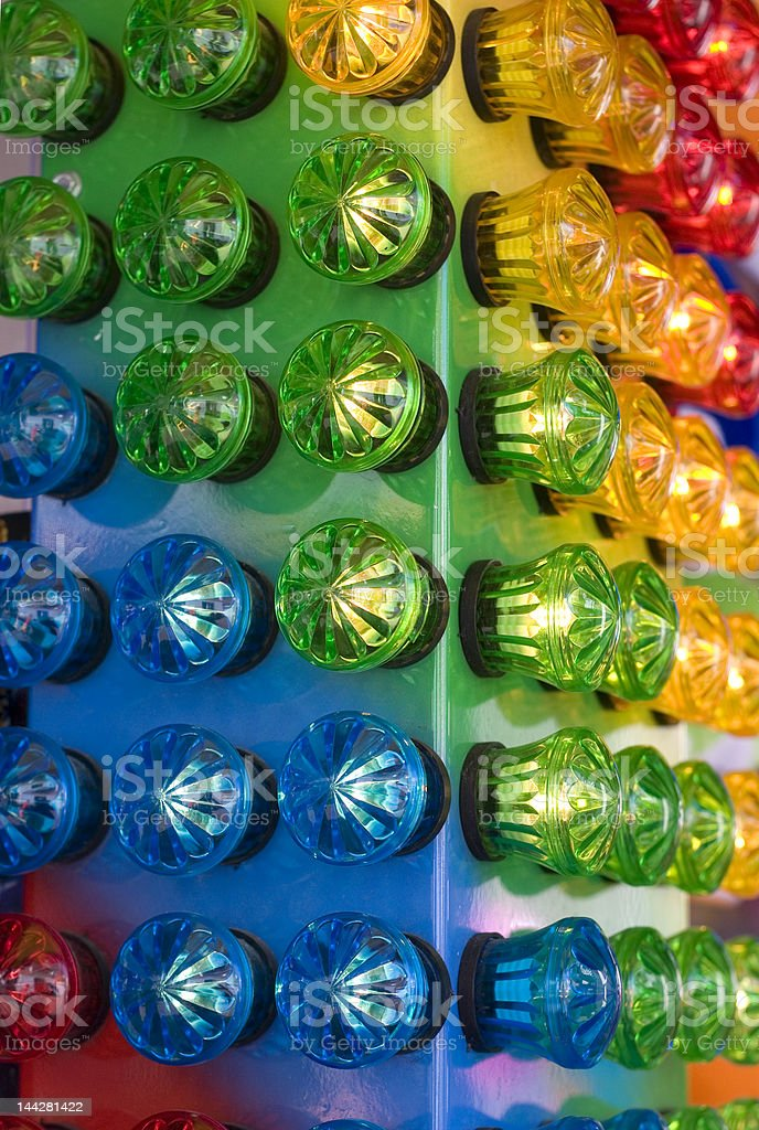 Blue green yellow and red lights royalty-free stock photo