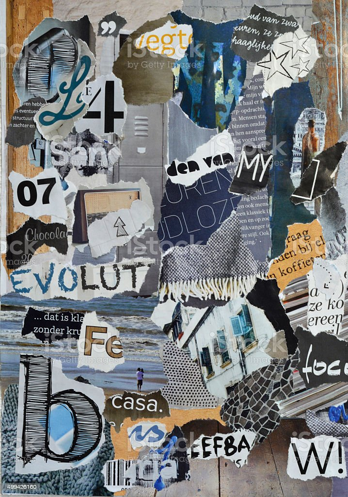 blue grey mood board collage sheet made of teared magazines stock photo