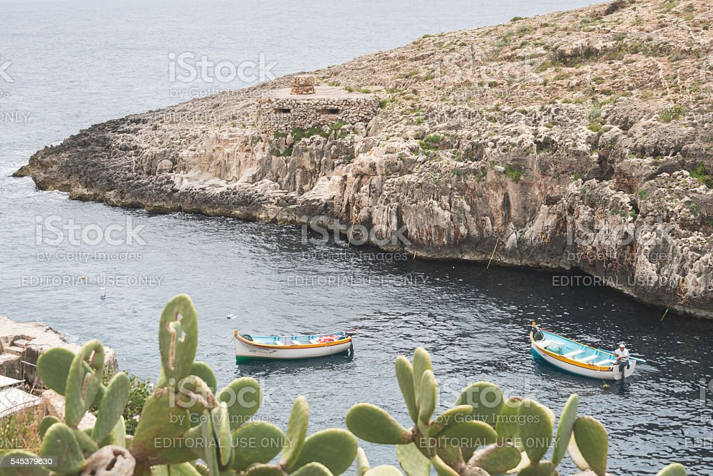 Blue Grotto tour boats stock photo