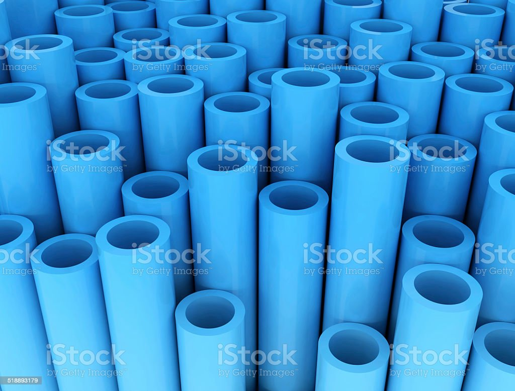 Blue group of plastic tubes stock photo