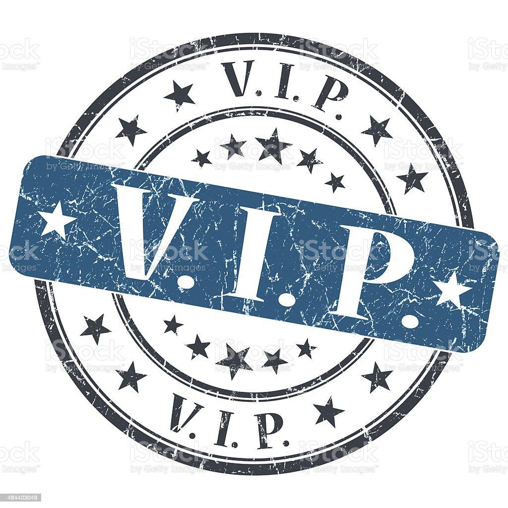 VIP blue grunge round stamp on white background stock photo
