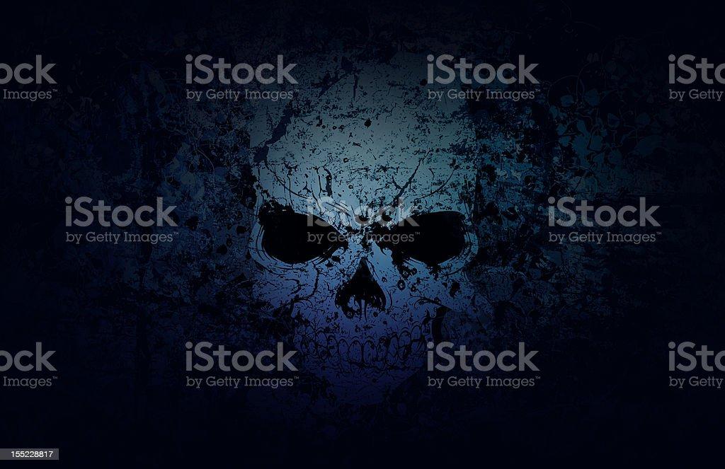 Blue Grunge Skull Dark Background royalty-free stock photo