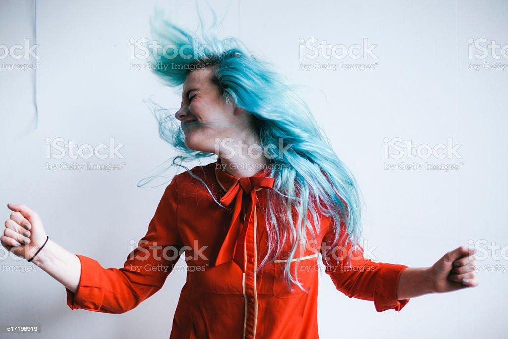 Blue Hair Head Bang stock photo