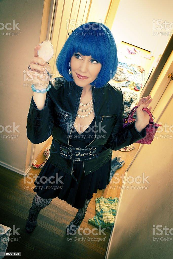 Blue Hair Punk Rock Girl stock photo