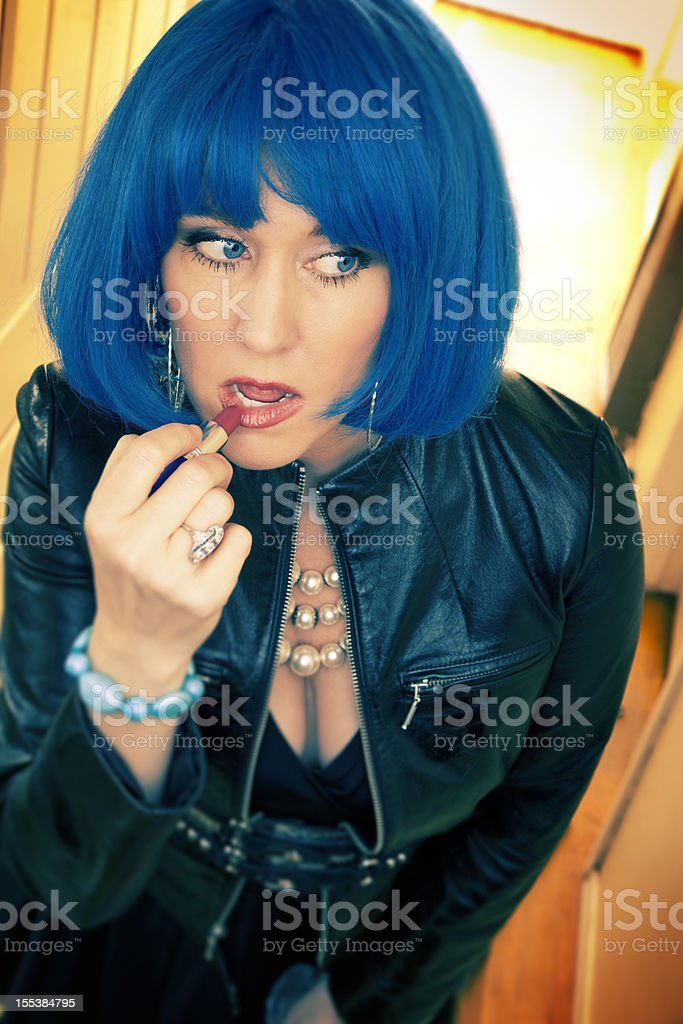 Admirable Blue Hair Punk Rock Girl Putting On Lipstick Stock Photo 155384795 Hairstyles For Women Draintrainus
