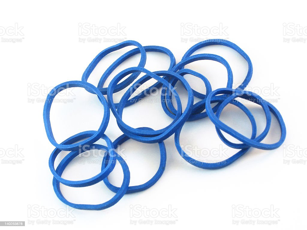 Blue Hair Rubberbands stock photo