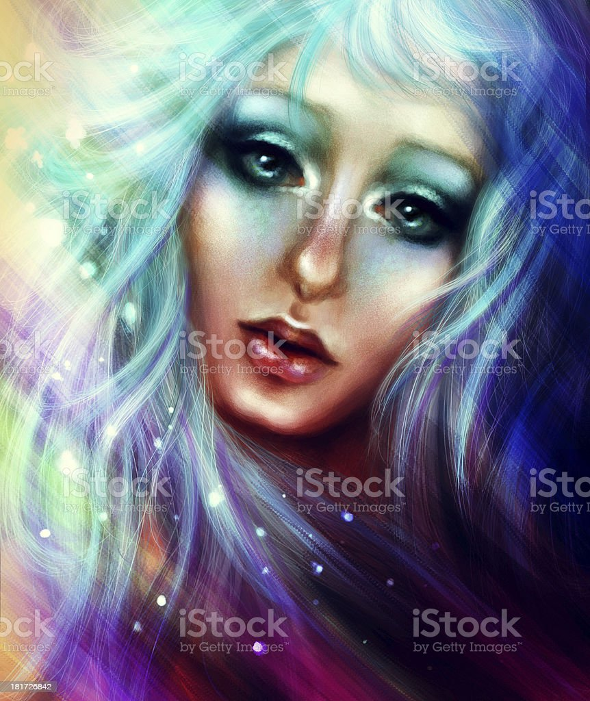 Blue Haired Lady royalty-free stock photo