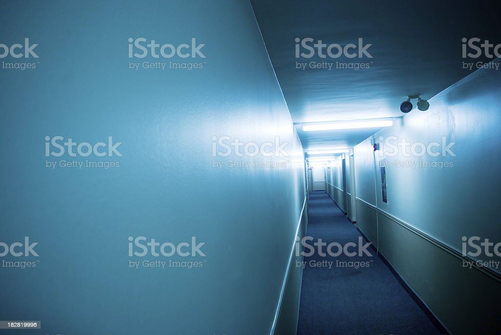blue hallway - typical apartment building in toronto royalty-free stock photo