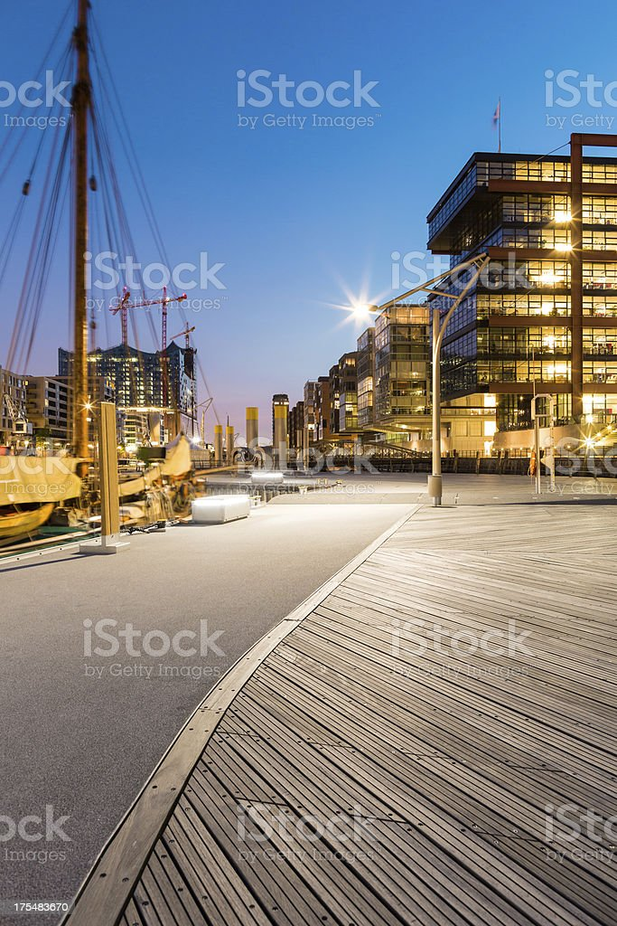 Blue Hamburg Hafencity stock photo