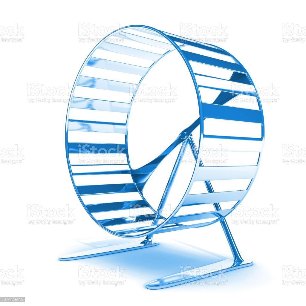 blue hamster wheel on white background stock photo