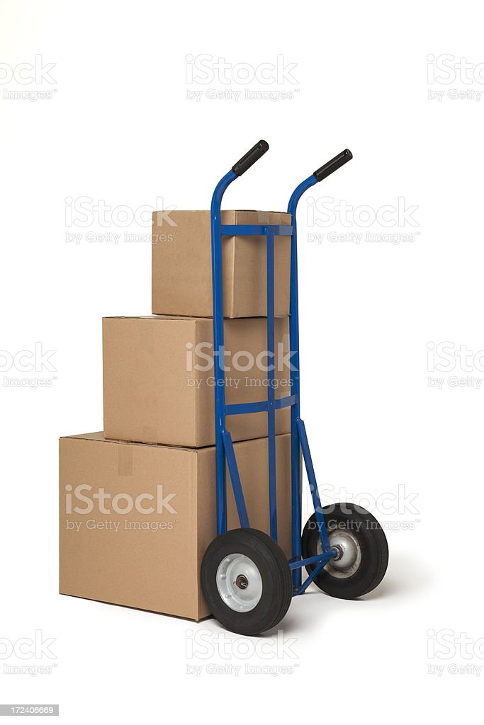 Blue Hand cart truck with three boxes royalty-free stock photo