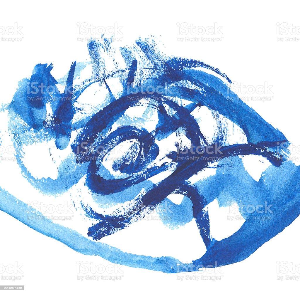 blue hand drawn childish scrabble illustration stock photo