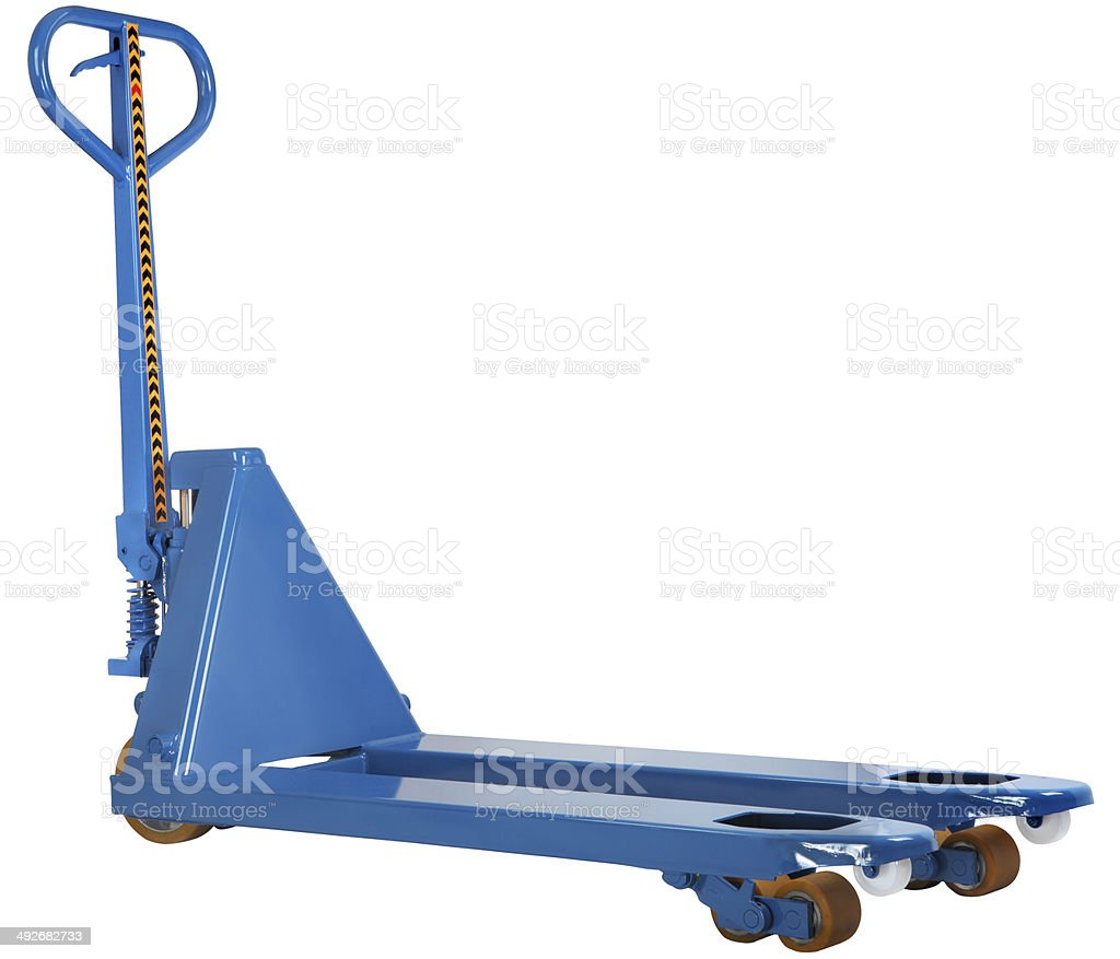 blue hand pallet hydraulic truck isolated on white background stock photo