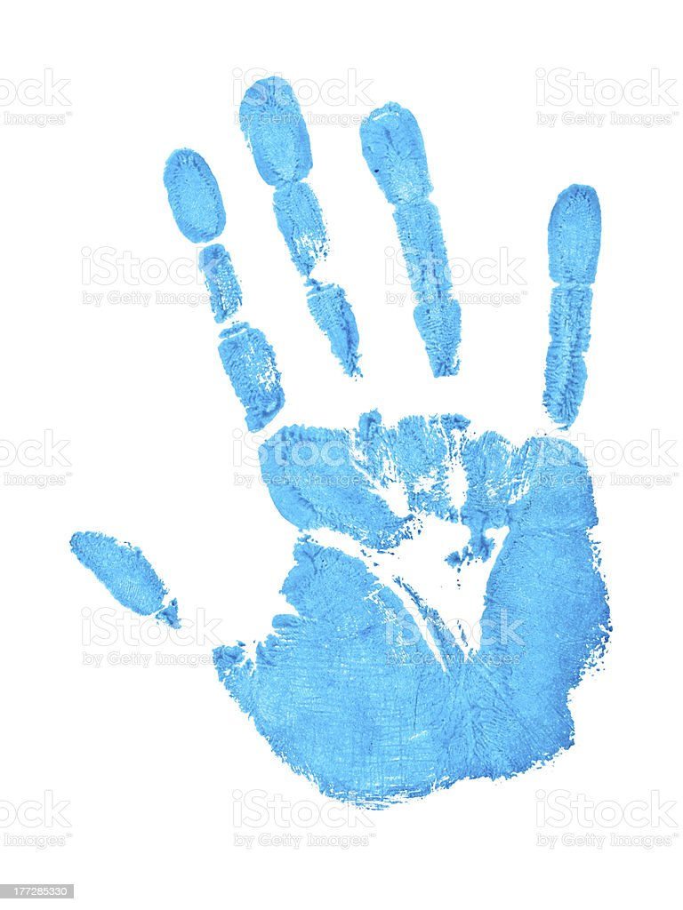 blue hand print royalty-free stock photo