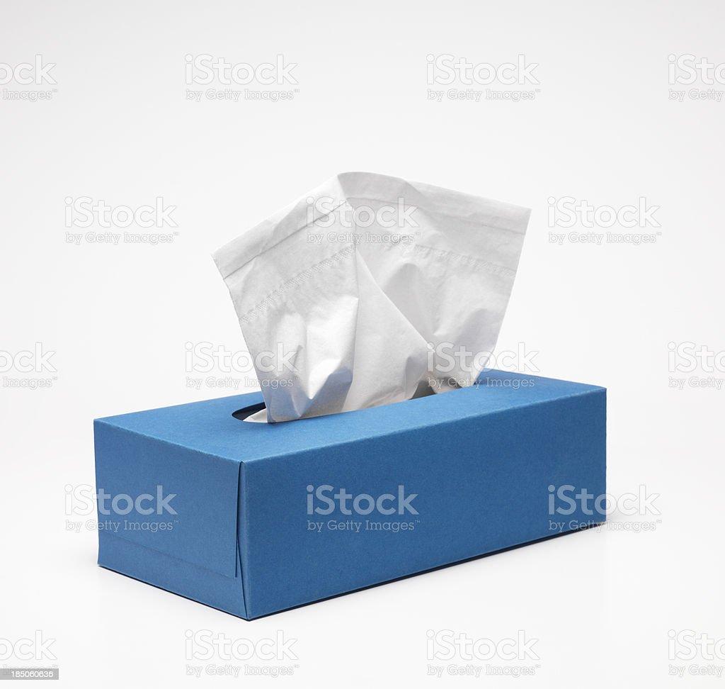 Blue Handkerchief box stock photo