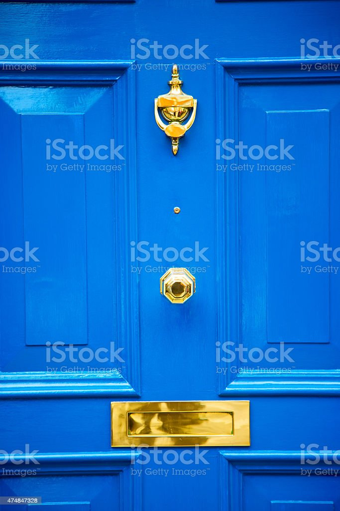 blue handle in london antique stock photo