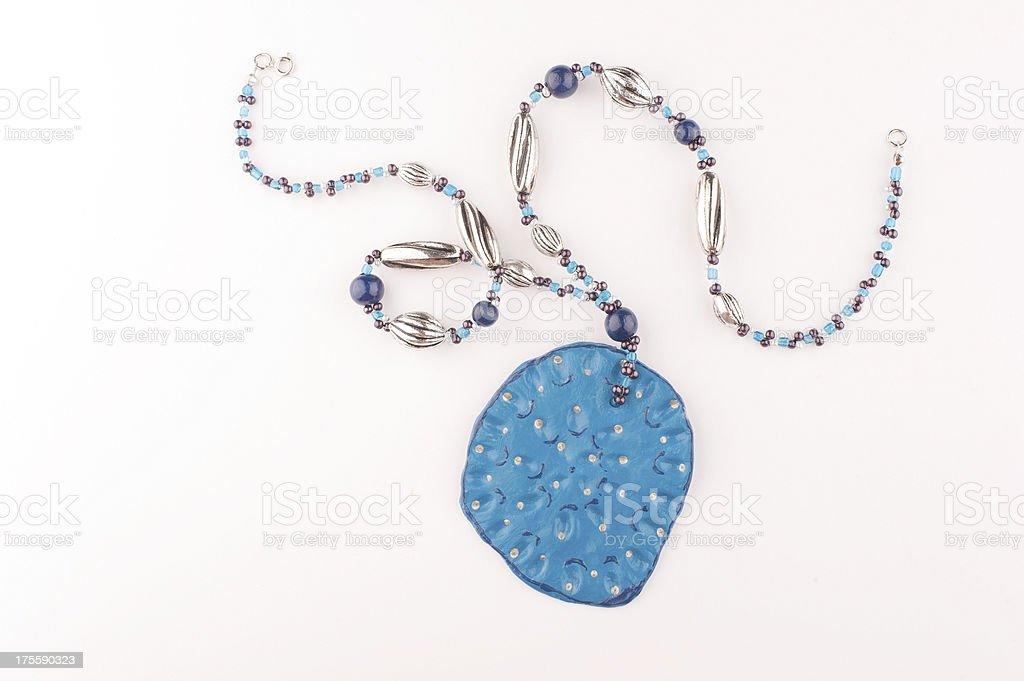Blue Handmade Necklace stock photo