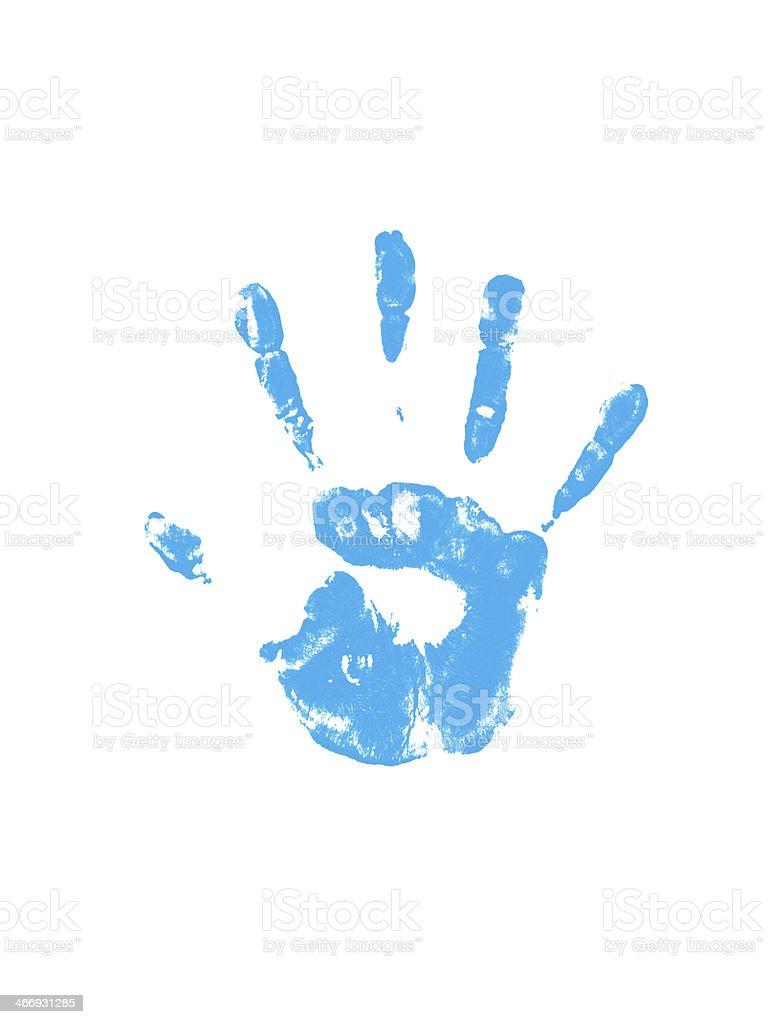 Blue handprint royalty-free stock photo
