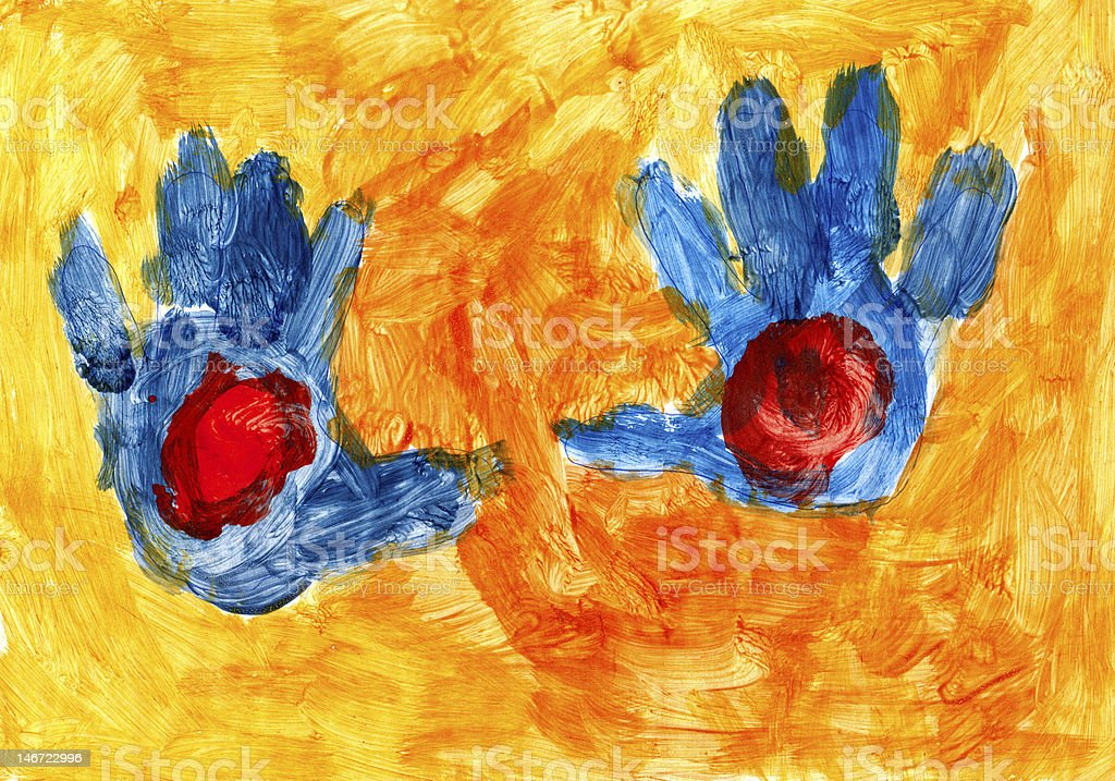 Blue hands on the orange background royalty-free stock photo