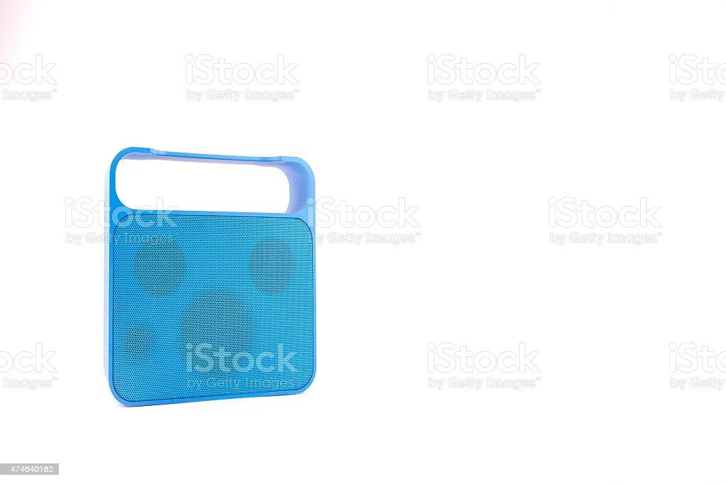 Blue Handy Speaker on White Background stock photo