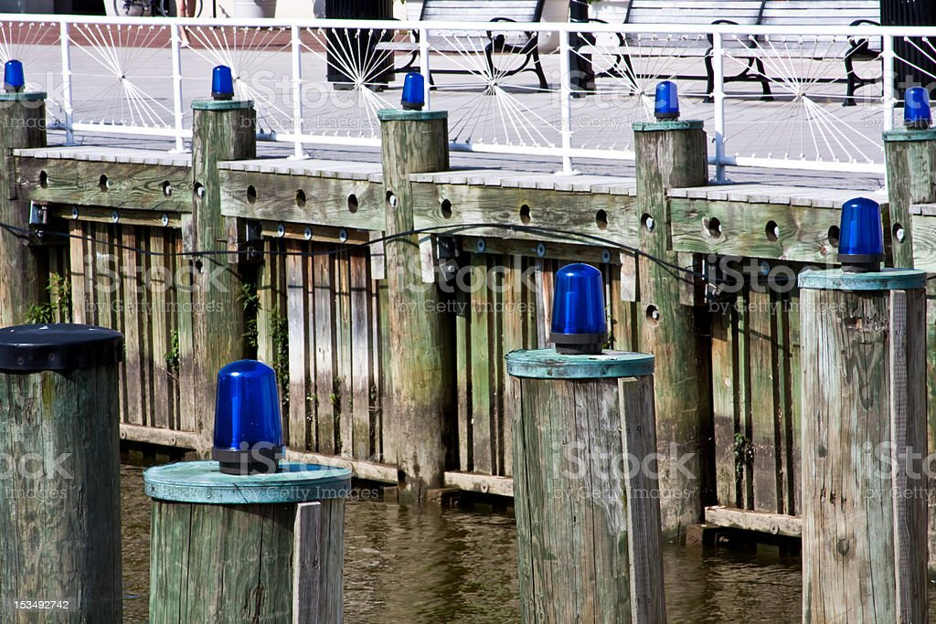 Blue Harbor Lights stock photo