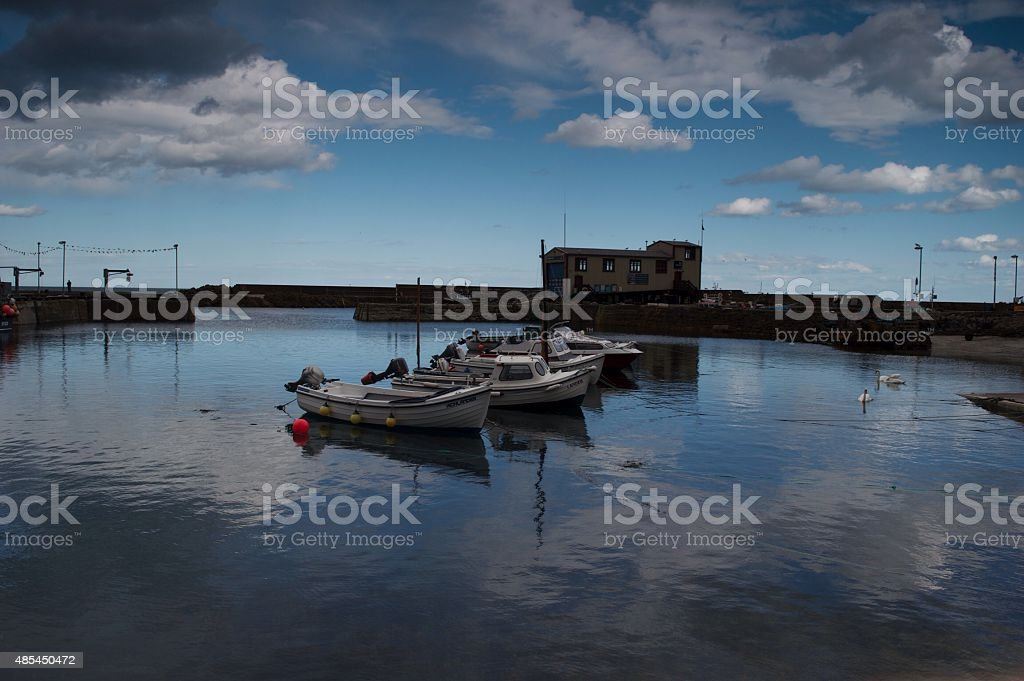 Blue harbour stock photo