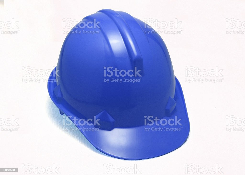blue hard hat stock photo